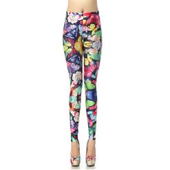 Color Butterfly Leggings, Contend In Fragance and Fascination Butterfly Leggings, Butterfly Printed Pants, #L7888