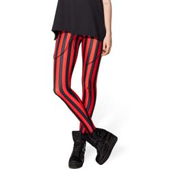 Beetlejuice Red Leggings, Stripe Leggings, Red Stripe Leggings, #L8154