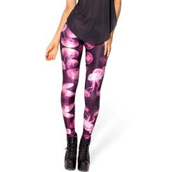 Jellyfish Pink Leggings, Pink Jellyfish Leggings, Jellyfish Leggings, #L8161