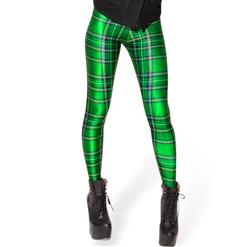 Tartan Green Leggings, Green Tartan Leggings, Tartan Leggings, #L8168
