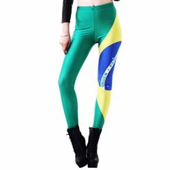 Sexy Brasil Flag Galaxy Painted Leggings L9382