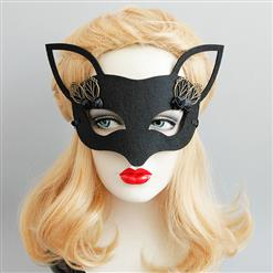Halloween Party Masks, Costume Ball Masks, Black Fox Face Mask, Masquerade Party Face Mask, Charming Fox Face Mask, Black Cosplay Face Mask, #MS17342