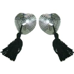 Sexy Silver Heart Pasties, Heart Shaped Pasties, Tassel Heart Pasties, #MS7277