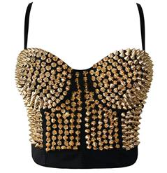 Sexy Golden Clubwear Tops, Women's Fashion Bustier Bra, Golden Corset Top, Plus Size Tops, #N10209