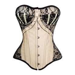 Sexy Apricot Corset, Cheap Strapless Lace Trim Corset, Women's Fashion Ruffles Bust Overbust Corset, Satin Corset, #N10272