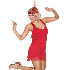 Flapper Girls Costume, Halloween Costume, Red Lace Flapper Costume, Cheap Women's Costume, #N10318