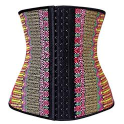 Colorful Steel Bone Underbust Corset, Latex Corset, Fashion Geometric Patterns Underbust Corset, Cheap Women's Corset, Plus Size Corset, #N10320