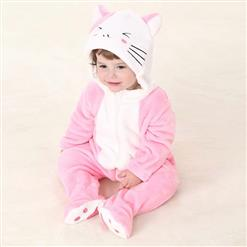 Cheap Baby Romper, Spring Baby Romper, Lovely Pink Cat Baby Romper, Hot Sale Pink Flannel Romper, #N10389