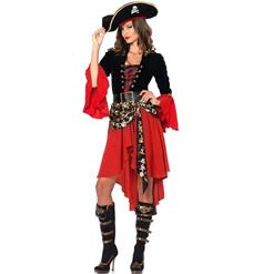 Pirate Captain Dress Costume, Sexy Black and Red Pirate Costume, Women's Cruel Seas Captain Costume, Hot Sale Halloween Costume, #N10445