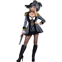 Sexy Halloween Costume, Cheap Pirate Costume, Women's Silver and Black Pirate Costume, Hot Sale Seductress Pirate Costume, #N10794