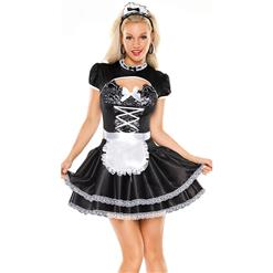 Sexy Maid Costume, Cheap Black French Maid Costume, Hot Sale Maid Costume, Adult French Maid Costume, #N10828