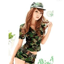 Sexy Army Camouflage Uniform Costume, Women's Army Costume, Halloween Masquerade Costume, #N10834
