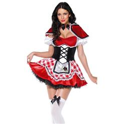 Hot Sale Halloween Costume, Cheap Little Red Riding Hood Costume, Sexy Red Riding Hood Costume, Fairy Tale Costume, #N10839