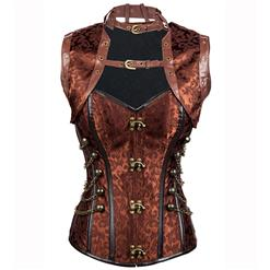 Sexy Steel Boned Corset, Gothic Brown Jacquard Corset with Jacket, Cheap High Neck Busk Closure Outerwear Corset, Vintage Halloween Corset, #N10844