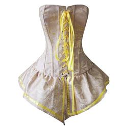 Retro Yellow Corset with Skirt, Women's Brocade Dress Corset, Halloween Party Corset, Lace-up Front Corset Dress, #N10893