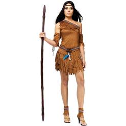 Brown Indian Costume, Sexy Halloween Costume, Cheap Women's Adult Native American Costume, Pow Wow Adult Costume, #N10934