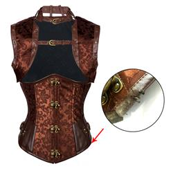 Steampunk Brown Underbust Corset, Sexy Steel Boned Corset, Hot Sale Jacquard Corset with Jacket, Women's Waist Cincher Underbust Corset, #N10938