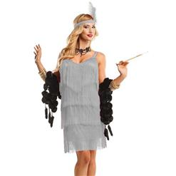 Women's Fringe Flapper Costume, Silver Tiered  Dancing Costume, Sexy Flapper Adult Costume, Halloween Costume, #N10943