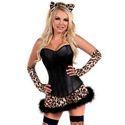 Leopard Costume for Women, Sexy Black Bunny Corset Costume, Bunny Girls Costume, Plus Size Costume, Halloween Costume for Women, #N11102