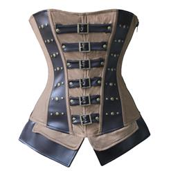 Steampunk Corset for Women, Brown Faux Leather Corset, Zipper Overbust Corset, Gothic Retro Overbust Corset, #N11184