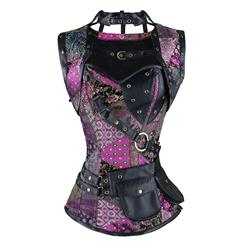 Gothic Steel Boned Corset for Women, Punk Retro Overbust Corset, Steel Boned Corset, Purple Overbust Corset Steampunk, Plus Size Corset, #N11199