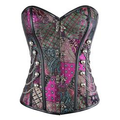 Steampunk Corset for Women, Spiral Steel Boned Retro Overbust Corset, Gothic Purple Outerwear Corset Top, Plus Size Corset, #N11288