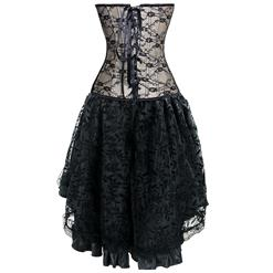 Burlesque Lace Overbust Corset With Lace Dancing Skirt Set N12147
