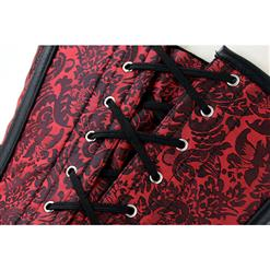 Noble Steampunk Red Jacquard Steel Bone Overbust Corset N12422