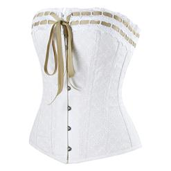 Charming White Steel Boned Overbust Corset N12425