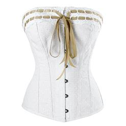White Cotton Overbust Corset, Steel Boned Corset, Victorian Overbust Corset, Cheap Outwear Corset, #N12425