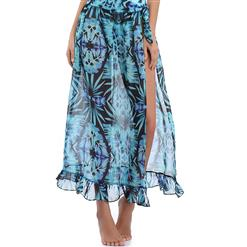 Sexy Blue Plant Print Cover Up, Women's Sexy Cover Up, #N12614