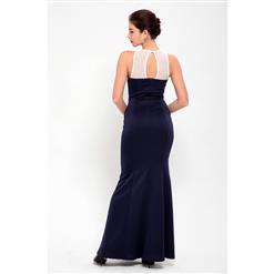 Gorgeous Dark Blue Lace  Bodycon Fishtail Evening Party Gown N12651
