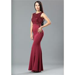 Graceful Wine Red Sequined Evening Party Dress N12665