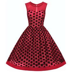 1950s Vintage Rockabilly Polka Dot Print Mesh Cocktail Swing Dress N12691