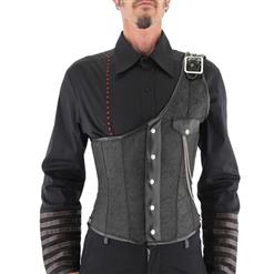 Men's Black Waistcoat, Men's Gothic Corset Vest, Outerwear Steel Boned Corset for Men, Steampunk Corset for Men, #N12698