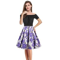 Women's T-shirt and Skirt Set, Vintage T-shirt Skirt Set, Short Sleeve T-shirt and Plaid Skirt Set, Floral Print Skirt Set, #N13040