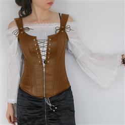 Steampunk Faux Vest Corset with Shirt, Sexy Corset Vest Crop Top Set for Women, Corset for Steampunk Costume, Women's Steampunk Corset with Victorian Blouse, Lace Blouse Punk Faux Vest Corset Set ,#N13072