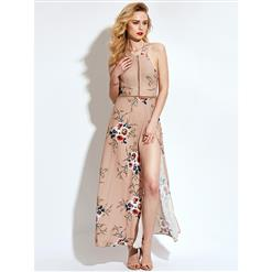 Off Shoulder Ankle Length Long Maxi Dress, Sleeveless Maxi Dress, Floral Print Party Casual Maxi Dress,  Maxi Dresses for Women Casual, Summer Beach Maxi Dress, #N13098