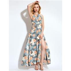 Off Shoulder Ankle Length Long Maxi Dress, Sleeveless Maxi Dress, Floral Print Party Casual Maxi Dress,  Maxi Dresses for Women Casual, Summer Beach Maxi Dress, #N13099