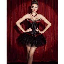 Lace-Up Front Corset & Pettiskirt, Lace-Up Front Corset, black Pettiskirt, #N1394