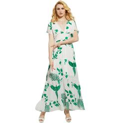 Short Sleeves Ankle Length Long Maxi Dress, Long Beach Maxi Dress, Floral Print Party Casual Maxi Dress,  Maxi Dresses for Women Casual, Summer Beach Maxi Dress, #N14001
