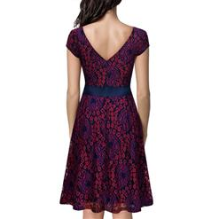 Vintage Floral Lace Short Sleeve Evening Party Swing Dress N14008
