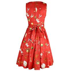 Cute Women 's Christmas Santa Claus Print Sleeveless Swing Dress N14152