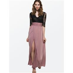 Sexy V-neck  Ankle Length Long Maxi Dress, High Side Slit Maxi Dress, Three-Quarter Sleeve Maxi Dress, Lace Top Dress Casual Party Maxi Dress, Summer Beach Maxi Dress, #N14204