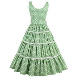 Hot Selling Vintage Square Neck Thick Straps Polka Dot Pleated Swing Dress N14228