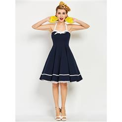 Women's Halter Dress, Sexy Dresses for Women, Sleeveless Swing Dress, Daily Dress, Midi Dress For Women, #N14306