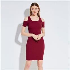 Sexy Bodycon Dress, Red Dress, Mini Dress, Cold Shoulder Dress, Cheap Dress for women, Round Neck Dress, Fashion Dress for women, #N14308