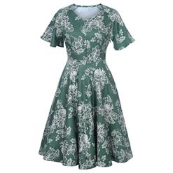 Retro Dresses for Women, Vintage Dresses, Sexy Dresses for Women Cocktail Party, Casual Midi Dress, Swing Daily Dress, Floral Print Dress, #N14398