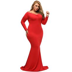 Evening Party Dress, Fishtail Maxi Dress, Fashion Red Dress, Hot Sale Long Sleeve Dress, Plus Size Party Dress, #N14456
