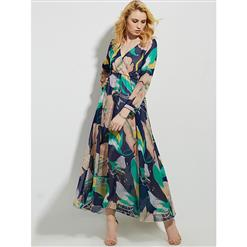 Sexy Dress for Women, Maxi Dresses, Long Sleeve Dress for Women, Wrap V Neck Maxi Dress, Floral Print Party Dress , Women Daily Dress, #N14467